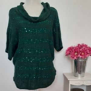 🥳 New Directions Green Sequin Sweater Large